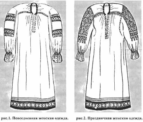 Рис. 1 и 2 - Повседневная и праздничная женская одежда.