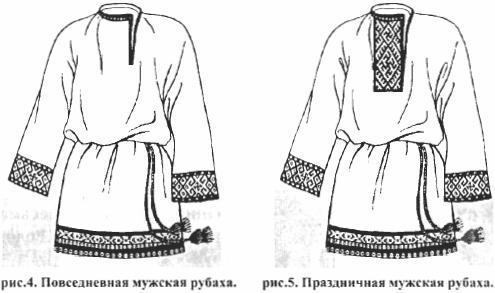 Рис. 4 и 5 - Повседневная и праздничная мужская рубаха.
