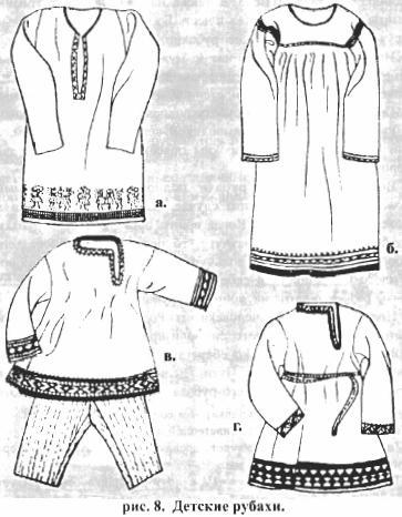 Рис. 8. Детские рубахи (а, б, в, г).