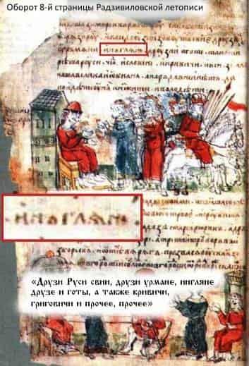 Фото: Оборот 8-й страницы Радзивиловской летописи (Ингляне).